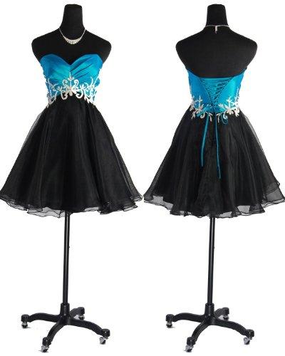 Qpid Showgirl Strapless charmanten kurzen Kleid, Farbe Türkis Schwarz, 5561TQ (34, Türkis Schwarz) Bestpreis