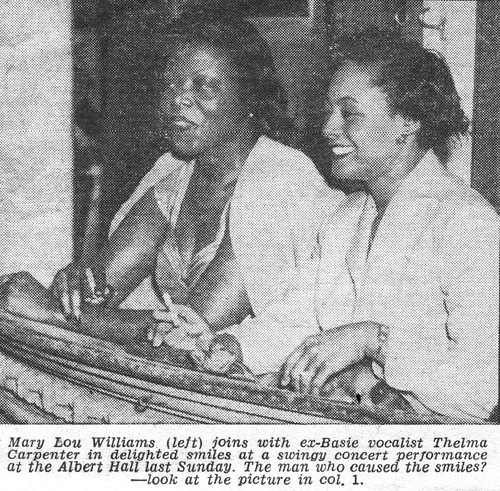 Jazz Piano player Mary Lou Williams & Jazz Vocalist Thelma Carpenter at the Albert Hall, London, watching Teddy Wilson, London. MM, 26th, Sept, 1953.