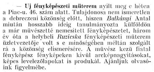 Balkányi Antal fényképészeti műterem nyitás hír - Debreceni Szemle 1913-jun-15