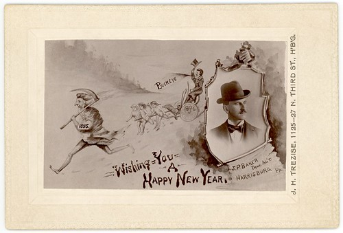Wishing You a Happy New Year, J. P. Baker, Traveling Agent, Harrisburg, Pa., 1896