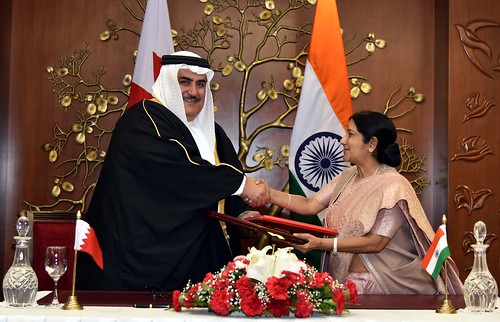 External Affairs Minister and Foriegn Minister Shaikh Khalid bin Ahmed bin Mohamed Al Khalifa of Kingdom of Bahrain at the signing of agreements ceremony in New Delhi (February 22, 2015)