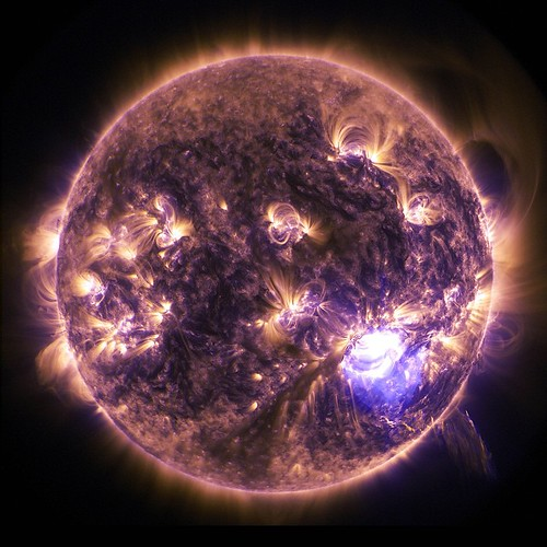 Holiday Lights on the Sun: The sun emitted a significant solar flare, peaking at 7:28 p.m. EST on Dec. 19, 2014. Our Solar Dynamics Observatory, which watches the sun constantly, captured an image of the event. Solar flares are powerful bursts of radiatio
