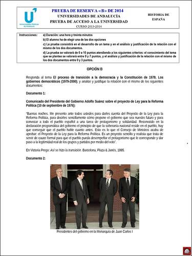 2013-2014 Historia de España  #5 ~ Prueba de Reserva  B -  Opción «B»