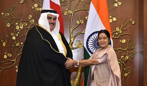 External Affairs Minister meeting with Foriegn Minister Shaikh Khalid bin Ahmed bin Mohamed Al Khalifa of Kingdom of Bahrain in New Delhi (February 22, 2015)