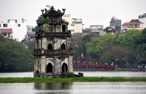 Turtle Tower (Tháp Rùa) in the center of the lake in Hanoi.