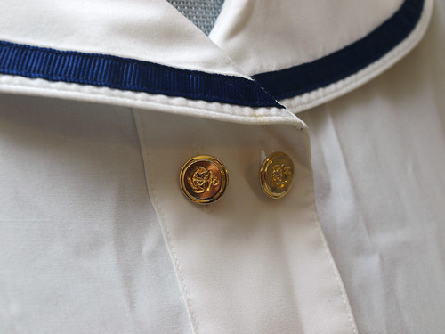 Sailor Shirt - White Blouse with Anchor buttons