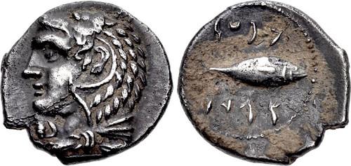 A Fine Greek Silver Hemidrachm of Gadir (Iberia)