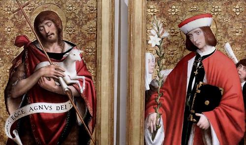 IMG_4051D Defendente Ferrari. 1480-1540 Piémont. Volets d'un polyptyque avec Saint Yves et Saint Jean Baptiste. Shutters of a polyptych with Saint Yves and Saint Jean Baptiste. Vers 1530 Turin. Palazzo Madama.