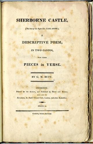 G.M. Butt, 'Sherborne Castle, A Descriptive Poem' (1815)