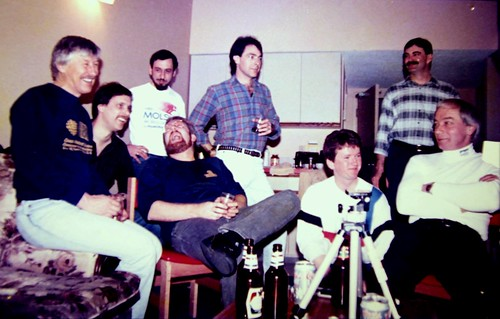 World Cup Skiing crew gathering. Bob Hepworth,DuffyHarris,KenBerube,NeilCochoran(sp), Ray Waines