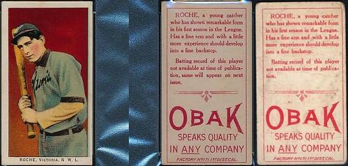 1911 T212-3 Obak Cigarettes Baseball Card - JACK ROCHE (Catcher) (Victoria Bees / Northwestern League) (#422b) (second printing / rare back / changed bio)