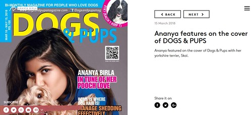 Ananya Birla features on the cover of DOGS   PUPS