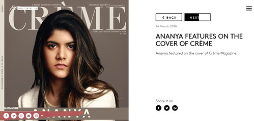 Ananya Birla features on the cover of Crème Magazine