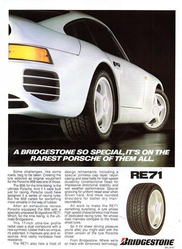 1989 Bridgestone RE71 Performance Tyres Porsche 959 Aussie Original Magazine Advertisement